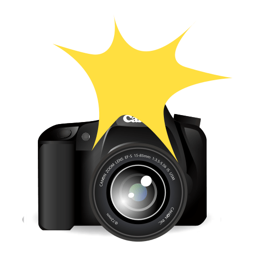 Photography emoji png. Camera with flash for