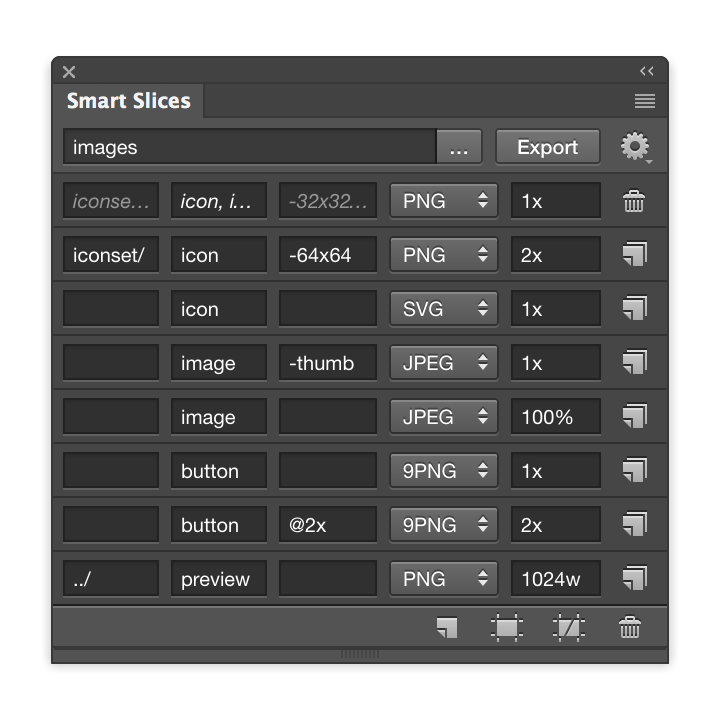 Photoshop batch convert to png. Smart slices for design
