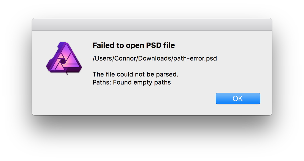 Photoshop could not parse the file png. Opening psd path error