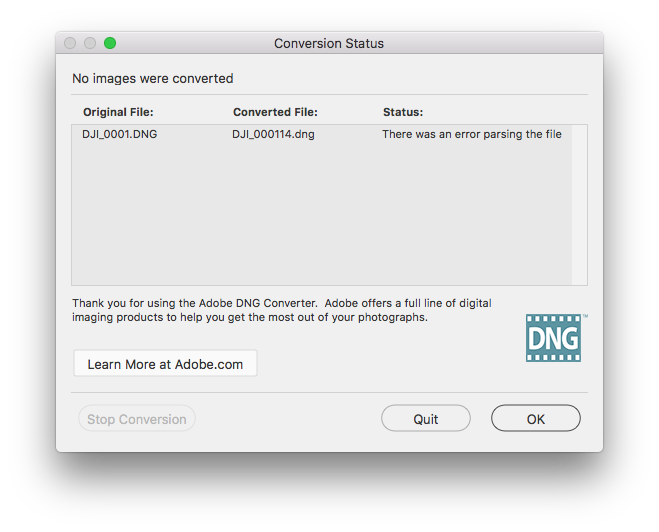 Photoshop could not parse the file png. Macos sierra vs dng