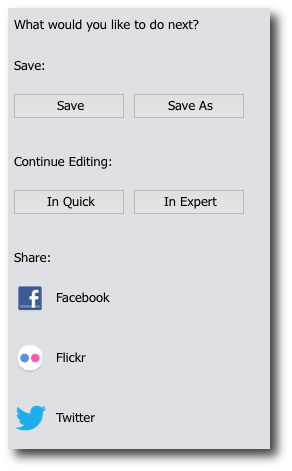 Photoshop no option to save as png. Guided edits share panel