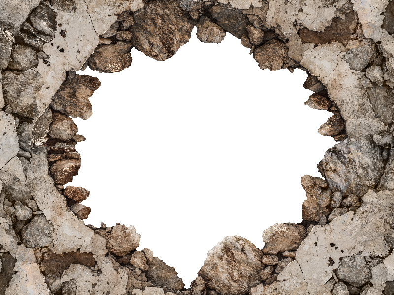 Photoshop png transparent background. Cracked broken wall for