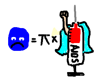 Pi drawing illustration. Sad blue super aids