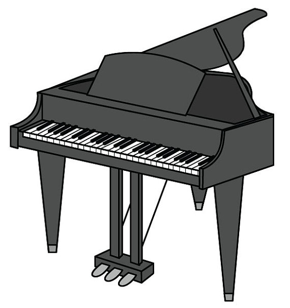 Clip art vector graphic. Piano clipart svg black and white stock