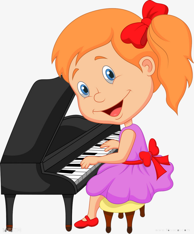 Piano clipart little girl. Girls playing the alone
