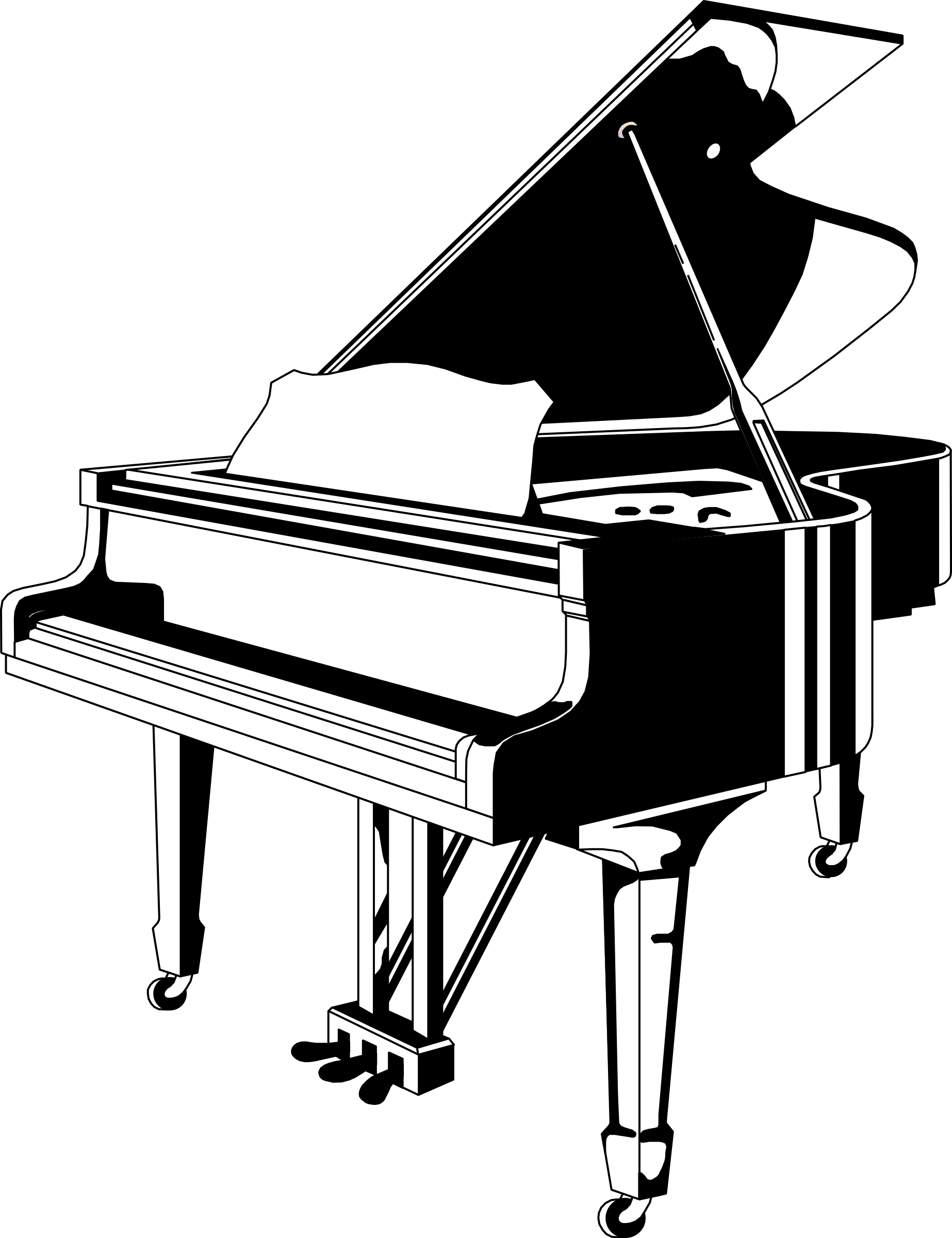 Piano clipart png. Black white big image