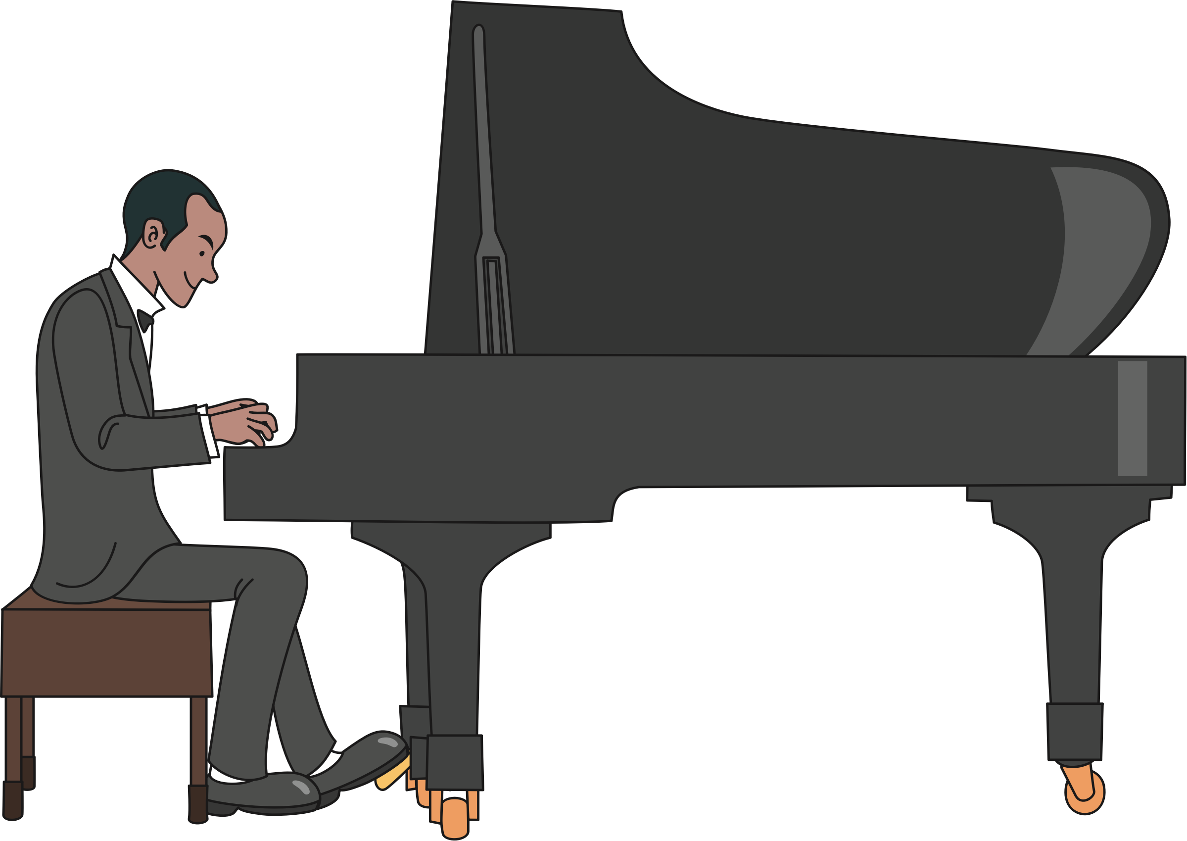 Piano svg jazz. Clipart male pianist big