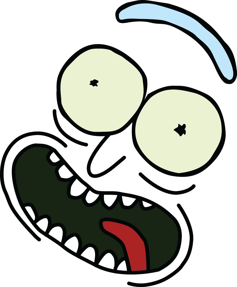 Pickle rick face png. Tv television film thread