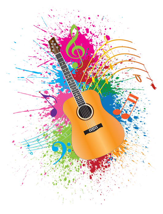 Pics of abstract music notes png. Guitar paint splatter illustration