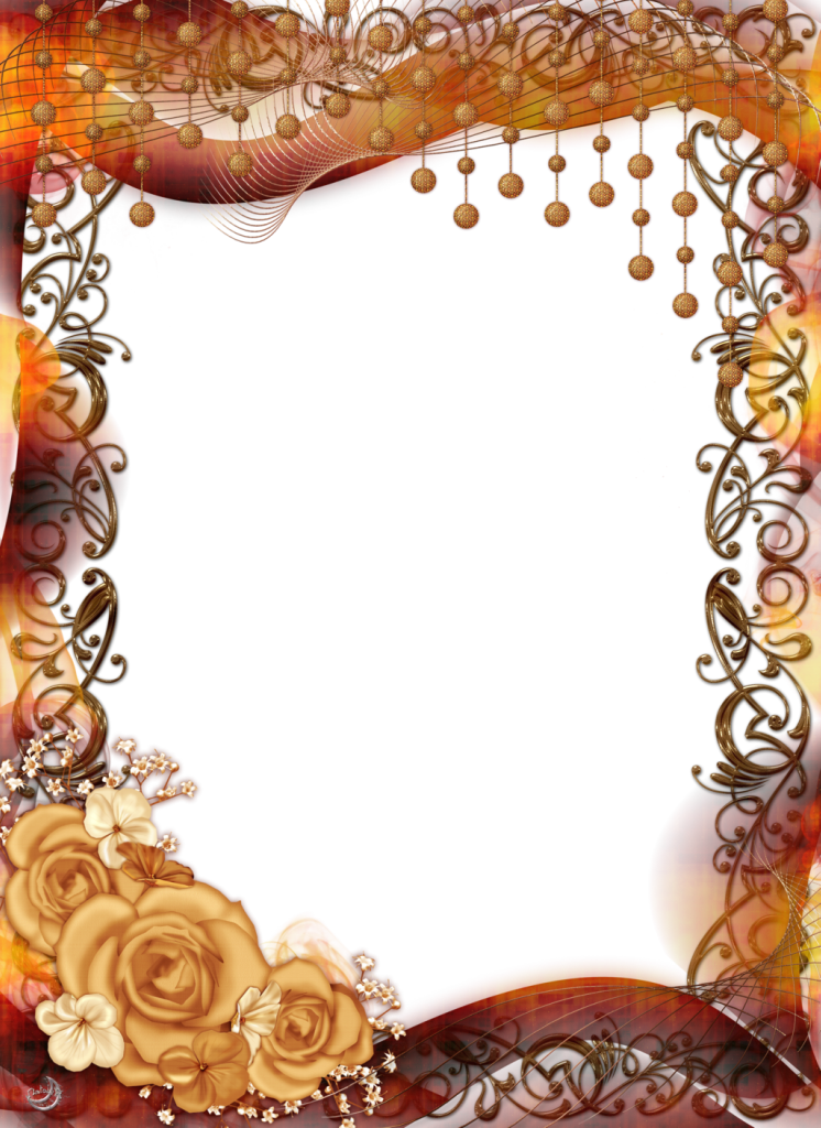 Picture frame png free. Transparent with yellow roses
