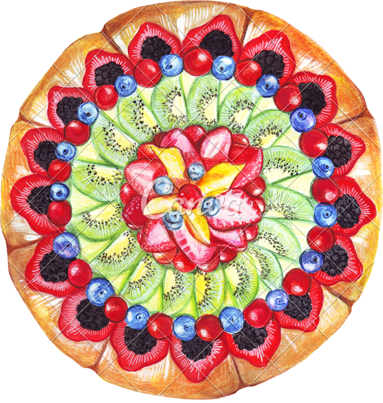 Pastry drawing watercolor. Of a pie photos