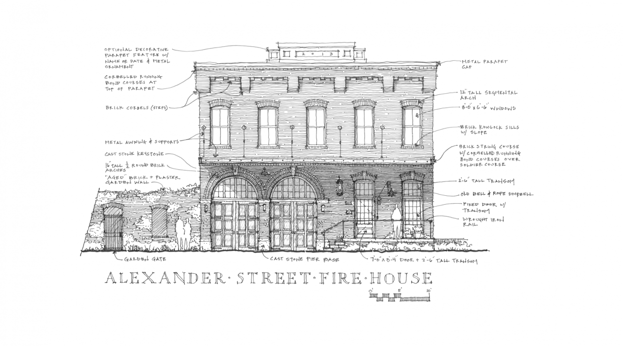 Architectual drawing historical. Concepts communities storefronts and