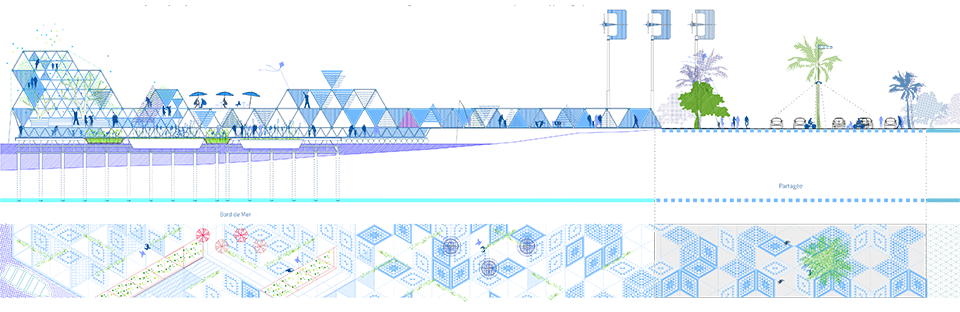 Pier drawing peir. Acupuncture ecosistema urbano section