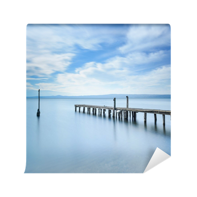 Pier vector jetty. Wooden or remains on