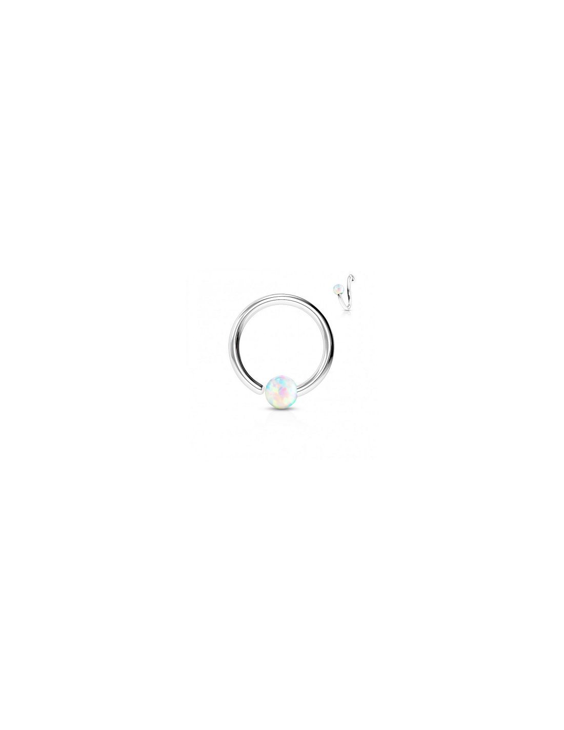 Piercing transparent black ball. Ring opal fixed on