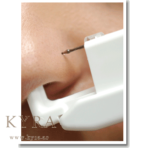 Piercing transparent nose stud. Clear crystal in mm