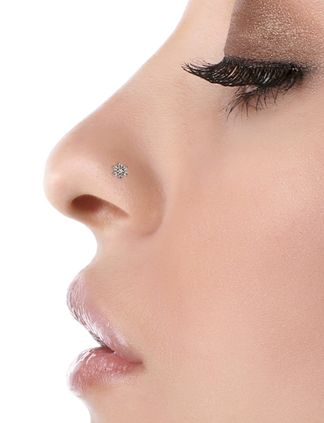Piercing transparent nose stud. Nostril styles maria tash