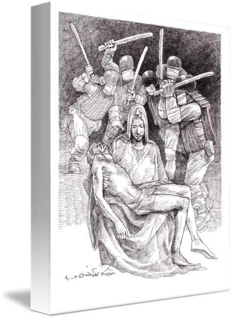 Pieta drawing black and white. By touka neyestani