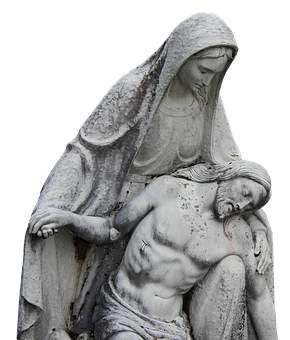 Pieta drawing statue mother mary. With clean lines hushed