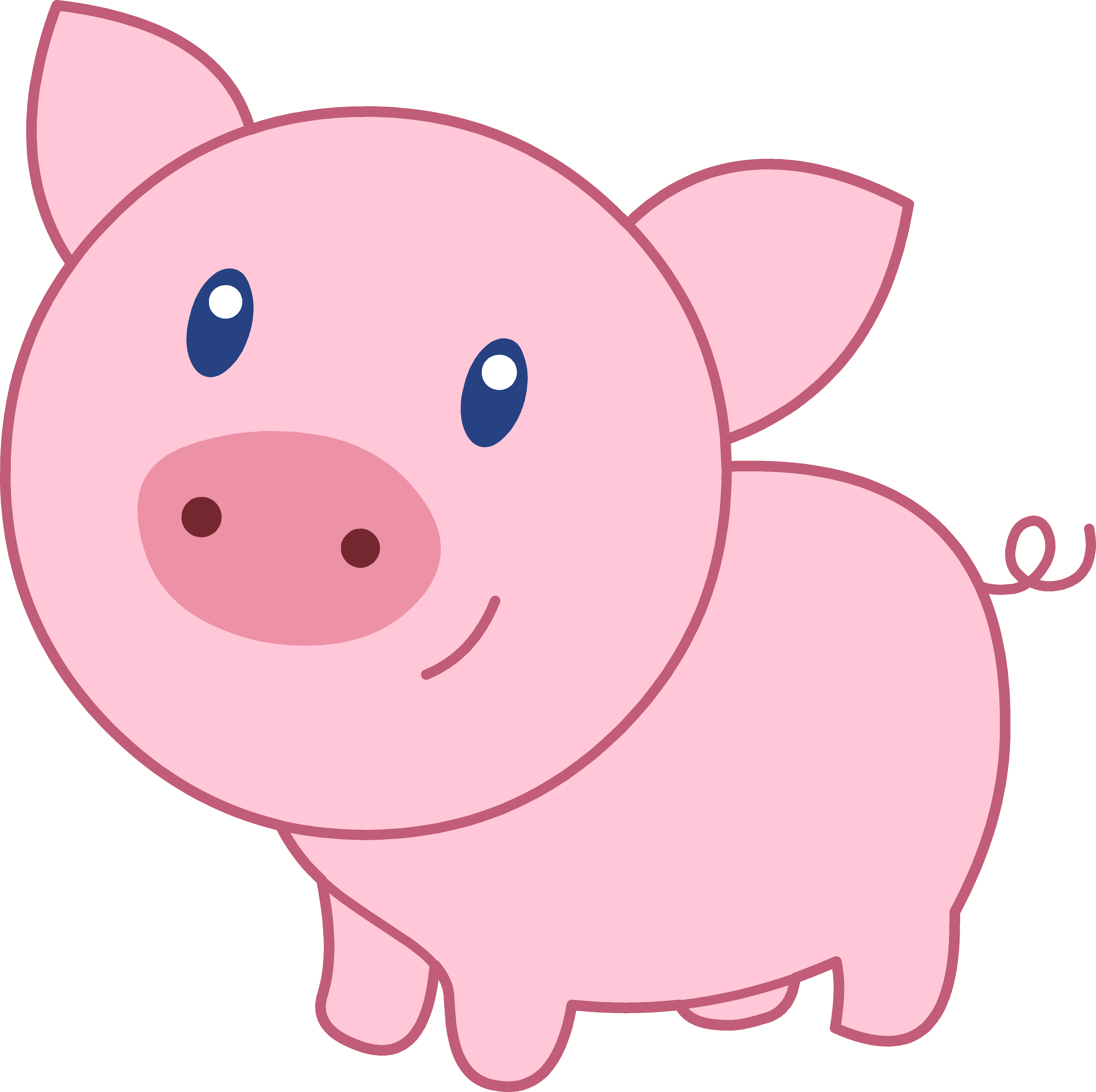 Pig clip art. Cute happy pink free