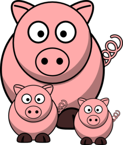 Pig clip art baby pig. Momma with pigs at