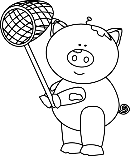 Pig clip art black and white. With a net