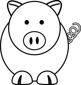 Cartoon at clker com. Pig clip art black and white clipart black and white library