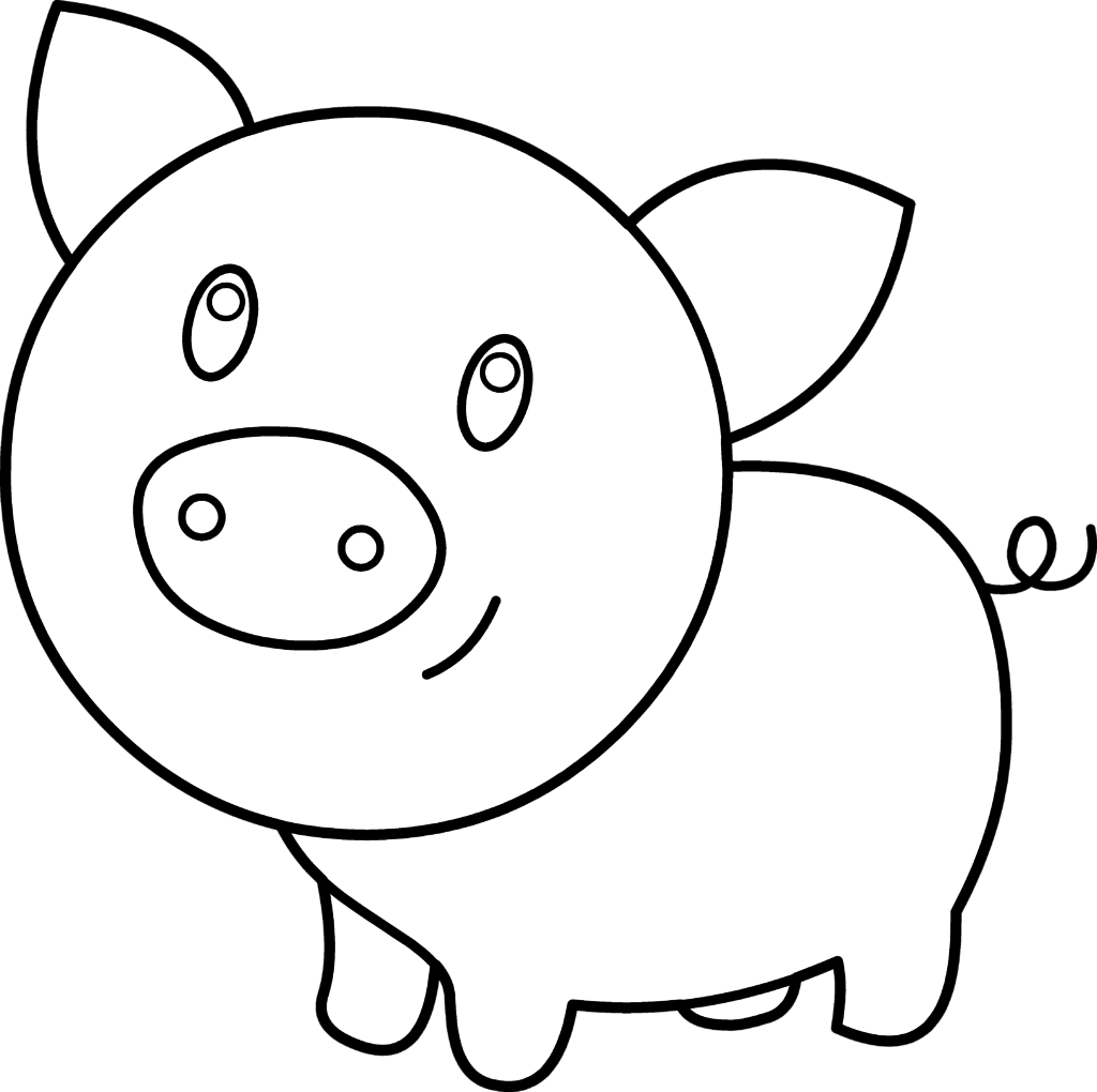 Pig clip art black and white. Face coloring library clipart