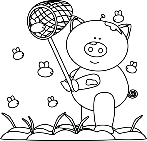 Pig clip art black and white. Catching flies in the
