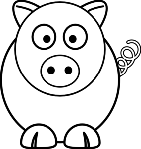 Cartoon at clker com. Pig clip art black and white png black and white