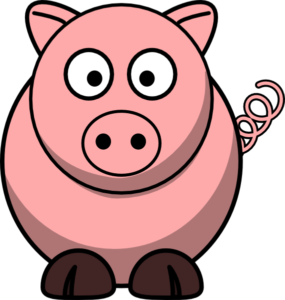 Cartoon clipart free piggie. Pig clip art easy image black and white library