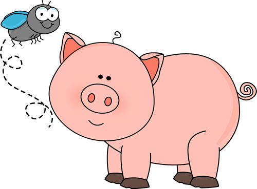 Pig clip art cartoon. Fly and image a
