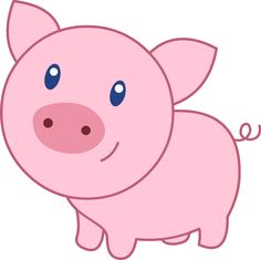Pig clip art cartoon. Cute black and white