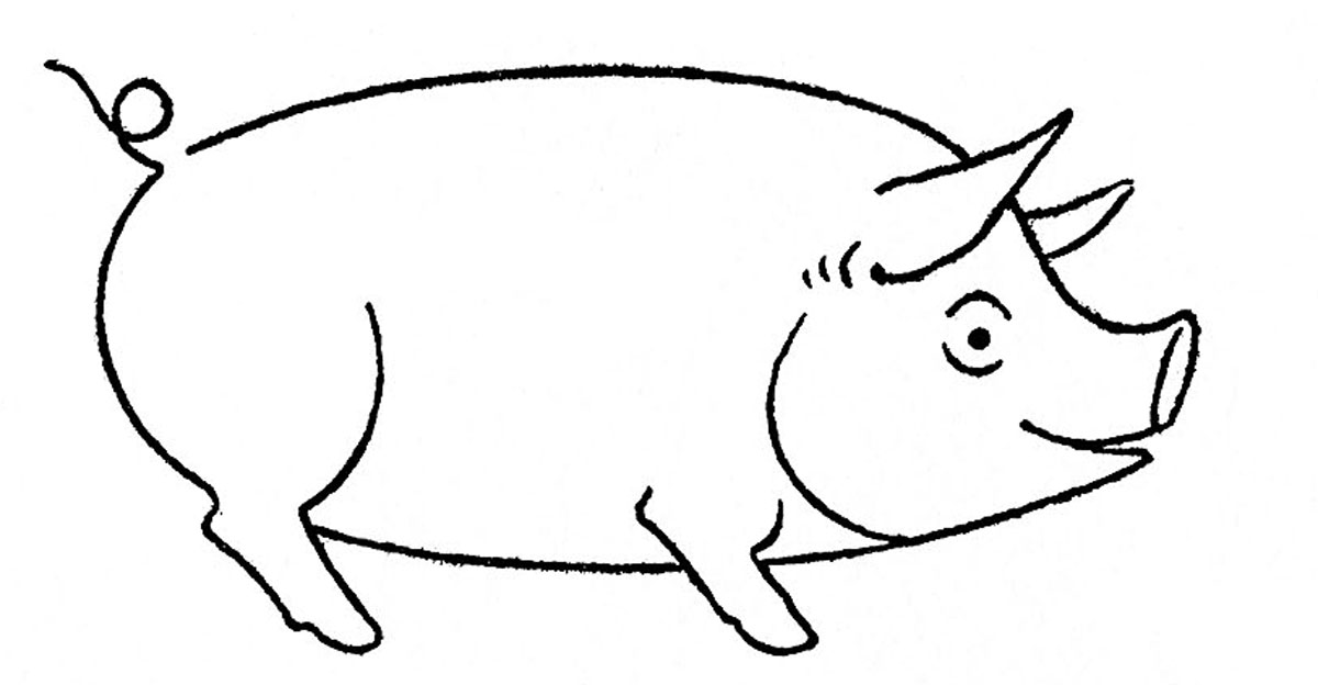 Sumptuous design to draw. Pig clip art easy clip art black and white library