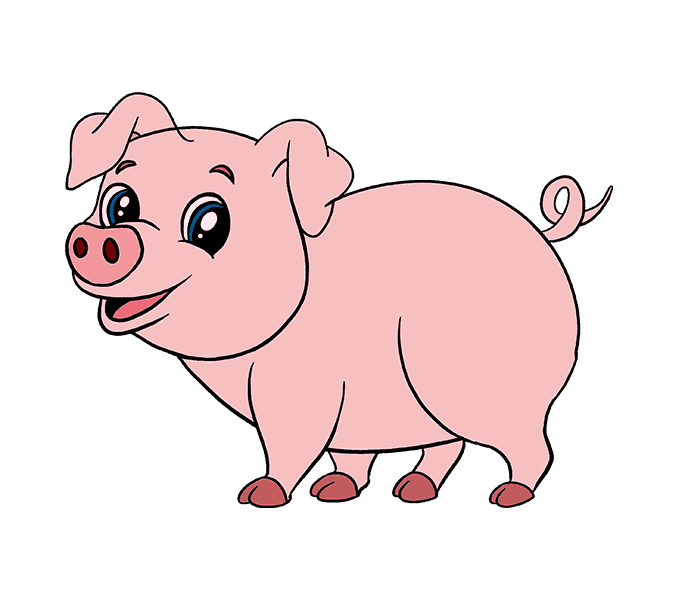 Hog clipart curly pig tail. Drawing pictures at getdrawings
