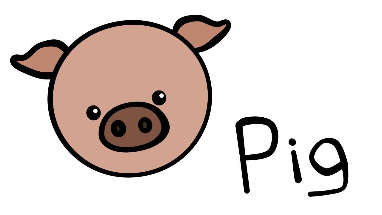 Pig clip art easy. Cute and quick how