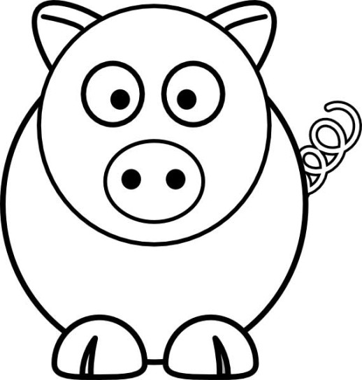 Pig clip art easy. Animal drawings simple pictures
