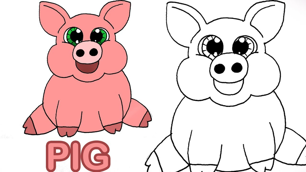 Pig clip art easy. Very how to draw