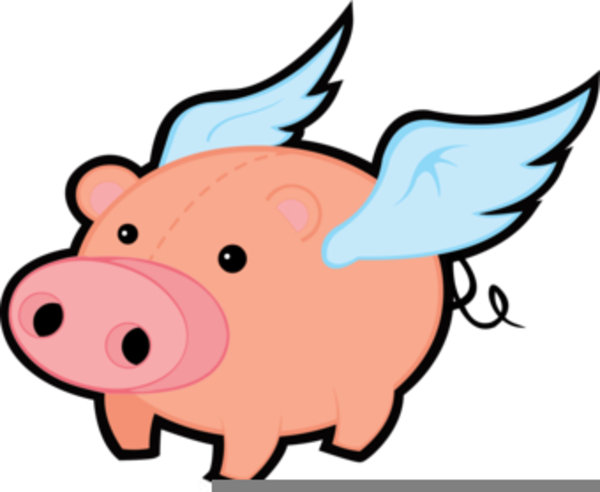Pig clip art flying pig. Clipart pigs free images