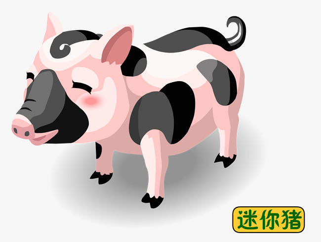 Hand painted cartoon png. Pig clip art mini pig png black and white