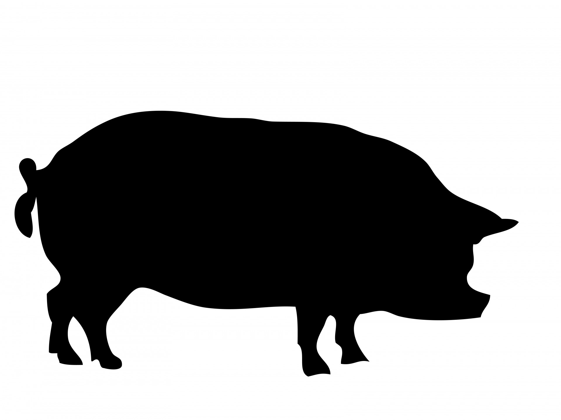 Pig clip art silhouette. Free stock photo public