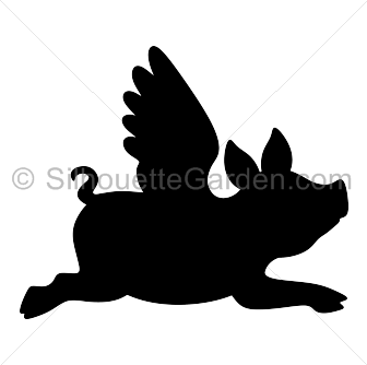 Pig clip art silhouette. Flying download free versions