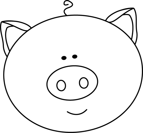 Pig clipart circle. Head outline