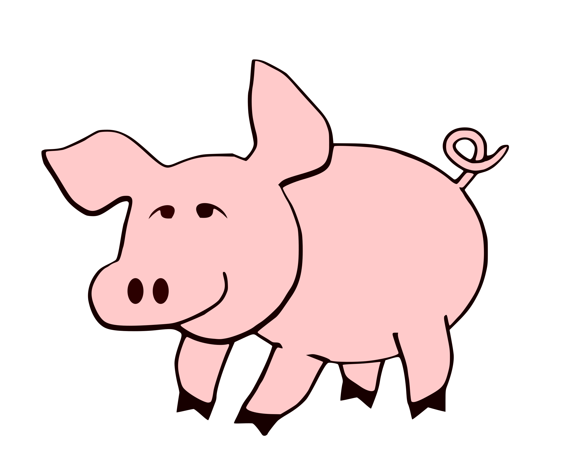 Pig clipart swine. Of a cute obese