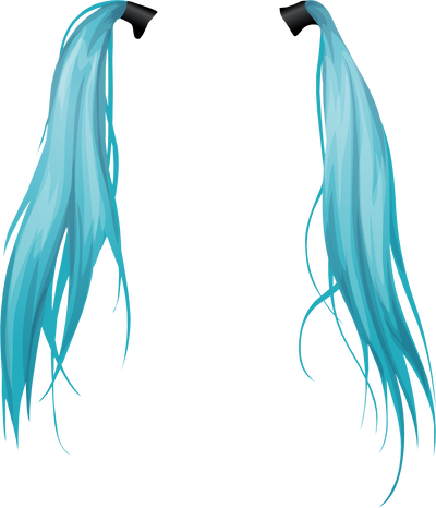 Pig tails png. Blue long pigtails by