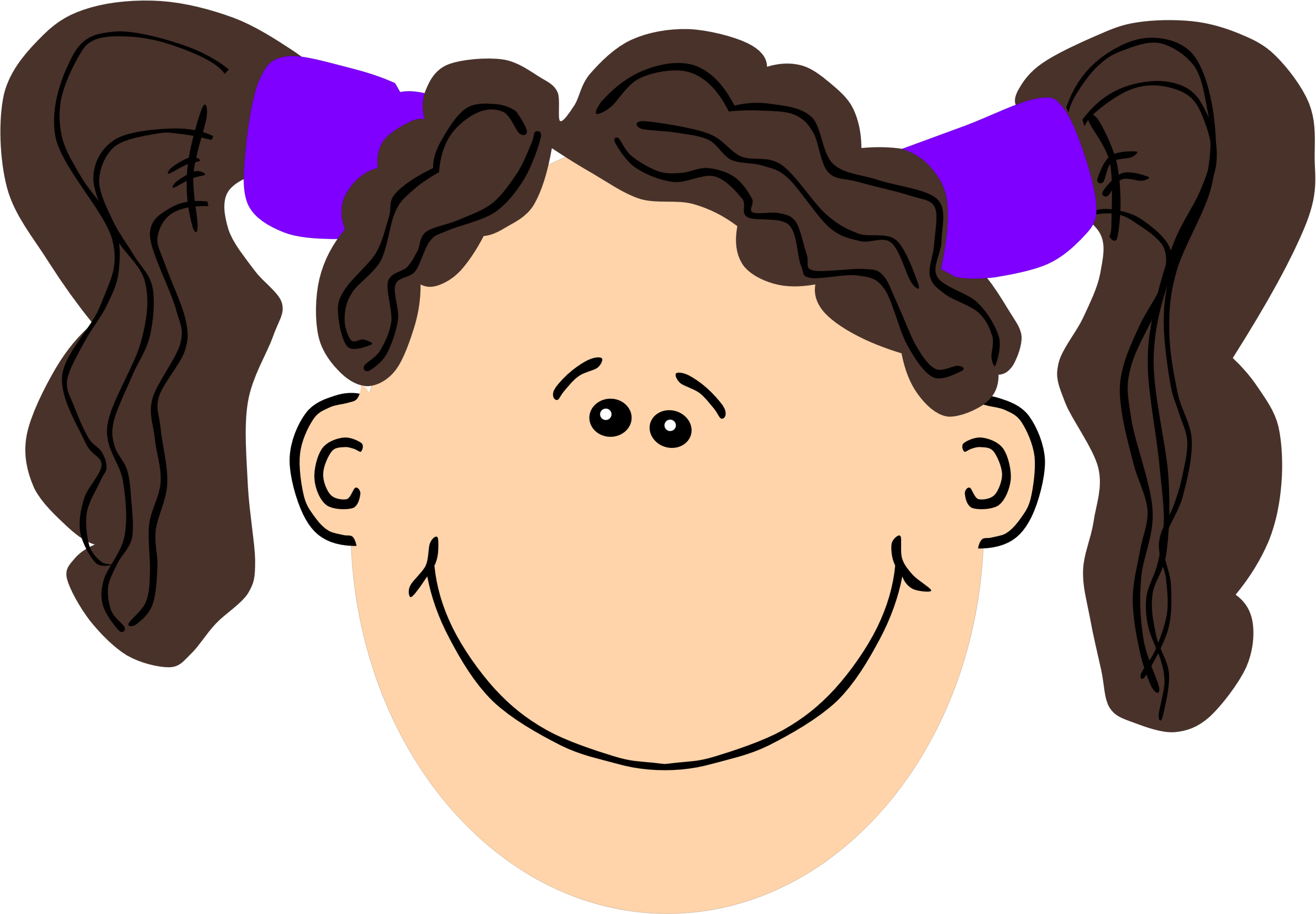 Pig tails png. Girl with brown hair