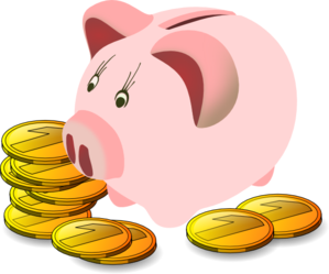 Coins clipart drawn. Piggy bank and
