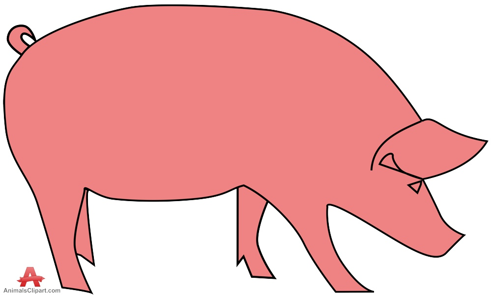 Piggy clipart aniaml. Pink pig simple free