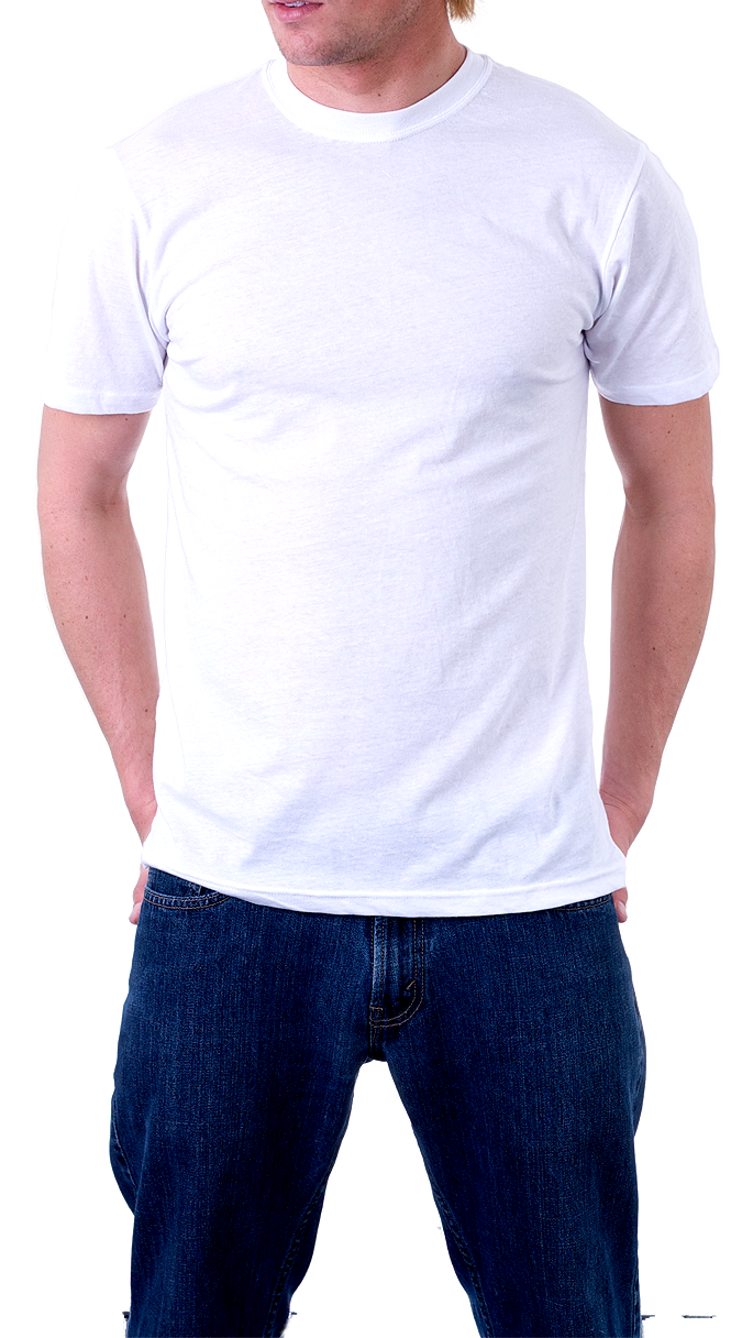 T shirt png template. Man wearing isolated stock