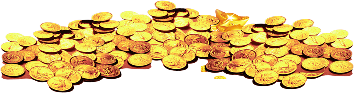 Pile of gold coins png. Coin heap transprent free
